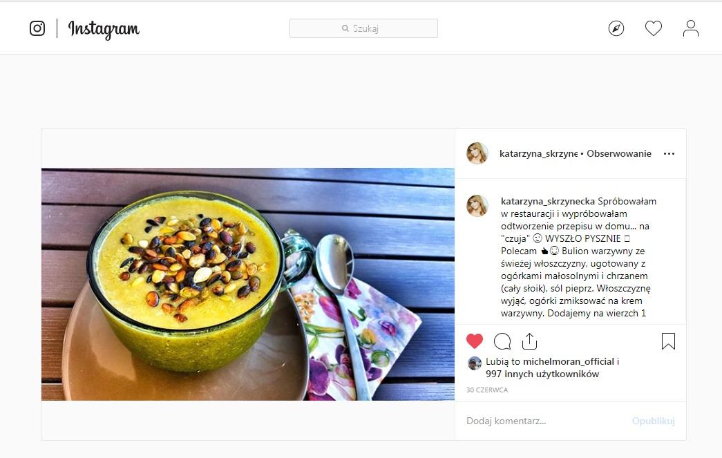 Katarzyna Skrzynecka pochwaliła się na Instgramie rewelacyjną zupą z małosolnych ogórków